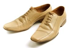 Mans Beige Shoes Stock Photo