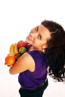 Free Girl With Fruit Royalty Free Stock Image - 9526576