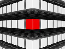 Free Red Cube Among White Cubes Stock Image - 9526751