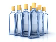 Free Blue Bottles Isolated On The White Royalty Free Stock Photos - 9527318
