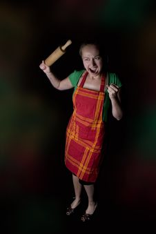 Free Woman With Kitchen Tool (rolling Pin) Royalty Free Stock Photo - 9527935
