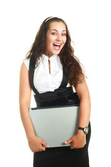 Free Successful Woman Holding A Laptop Stock Images - 9528084