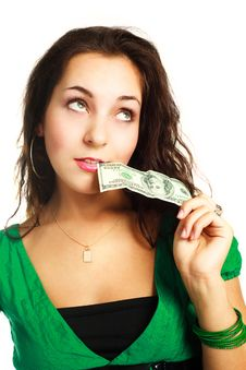 Free Dreamy Woman With One Nudred Dollars Royalty Free Stock Photo - 9528145