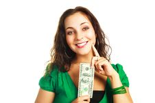 Free Pretty Woman With One Hundred Dollars Stock Photo - 9528170