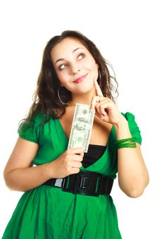 Free Pretty Girl With One Hundred Dollars Stock Photography - 9528212