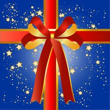 Free Blue Present Background With Red Ribbon Stock Image - 9529221