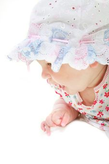 Free Baby Girl In Hat Portrait Stock Photography - 9529832