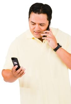 Free Mid Adult Man Using Phone Royalty Free Stock Image - 9531026