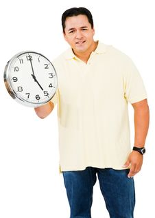Free Mid Adult Man Holding Clock Royalty Free Stock Image - 9531046
