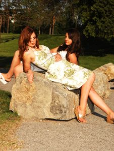 Sisters In The Park. Stock Image