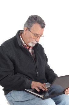 Free Senior With Laptop Computer Stock Photography - 9531572