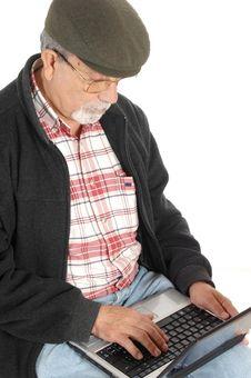 Free Senior With Laptop Computer Royalty Free Stock Image - 9531756