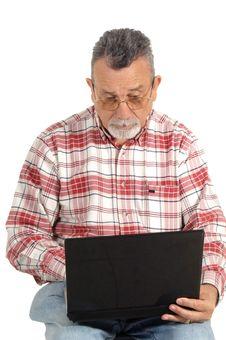 Free Senior With Laptop Computer Stock Photos - 9531833