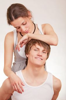 Young Man And Girl On White Background Stock Photos