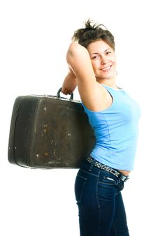 Free Girl With An Old Suitcase Royalty Free Stock Photos - 9532998