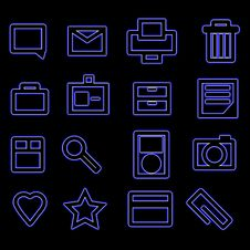 Free Bold Blue Glow Business Icons Royalty Free Stock Photo - 9533785