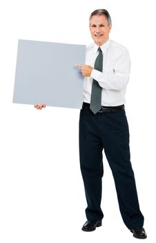 Free Portrait Of Businessman Showing Placard Stock Photography - 9534172