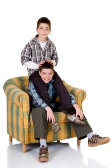 Free Two Happy Brothers Stock Image - 9534861