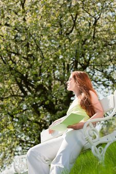 Free Woman Under Blossom Tree In Summer Royalty Free Stock Photography - 9536187