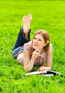 Pretty Student Studying Outdoors Stock Photos