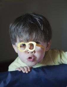 Free Cute Little Boy With Glasses Toy Royalty Free Stock Photos - 9537148