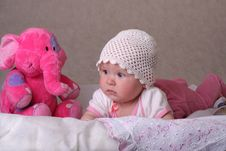 Free Baby With Toy S Elephant Stock Photo - 9537670