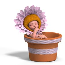 Free Baby In Flower Pot Royalty Free Stock Image - 9537806