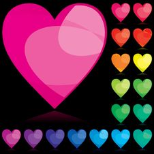 Set Of Color Hearts Stock Photo