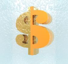 Free Us Dollar Sign In Ice Stock Image - 9538401