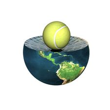 Free Tennis Ball On Earth Hemisphere Stock Images - 9538434