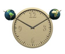 Free Wall Clock With Two Earth Isolated On White Royalty Free Stock Photos - 9538478