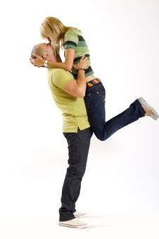 Free Man Holding His Girlfriend In The Air Stock Photo - 9538500