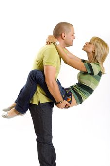 Free Man Holding His Girlfriend In The Air Stock Image - 9538521