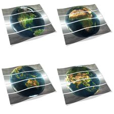 4 Stripes With Earth View On The White Royalty Free Stock Image