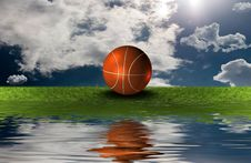 Basket Ball On The Grass With Sky Background Royalty Free Stock Image