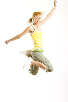 Free Young Woman Jumps In The Air Royalty Free Stock Photography - 9538777