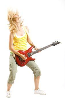 Headbanging Girl Guitarist Playing Stock Photography