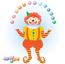 Clown Juggling Colorful Balls Royalty Free Stock Photography