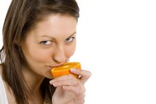 Free Woman Tasting An Orange Royalty Free Stock Photography - 9539077