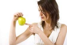 Free Woman Holding Yellow Apple Royalty Free Stock Photos - 9539108