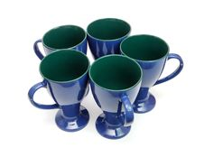 Circle Five Blue Long Cups Isolated Royalty Free Stock Images