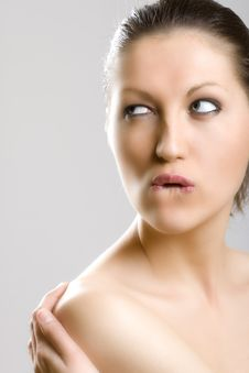 Free Closeup Of A  Woman S Face - Biting Lip Royalty Free Stock Image - 9539386