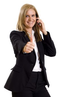 Free Attractive Businesswoman On The Phone Ok Sign Royalty Free Stock Photo - 9539515