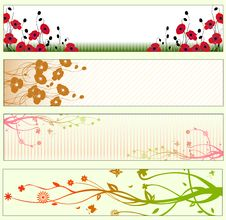 Free Floral Banners Royalty Free Stock Photo - 9539555