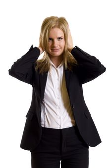Free Businesswoman In The Hear No Evil Pose Royalty Free Stock Photos - 9539588