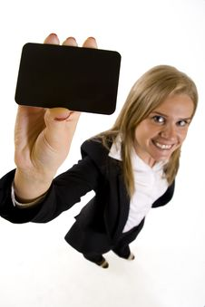 Wide Angle Picture Of An Attractive Businesswoman Royalty Free Stock Photo