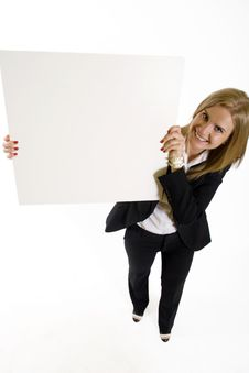Wide Angle Picture Of An Attractive Businesswoman Stock Photos