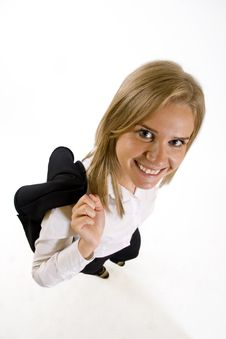 Wide Angle Picture Of An Attractive Businesswoman Royalty Free Stock Image