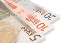 Free Euro S Banknotes And Coins Royalty Free Stock Photography - 9539877