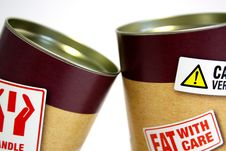 Free Two Cans With Fat Warning Stickers Stock Photo - 95318000
